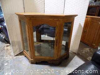 Mirrored Oak Curio Cabinet with Glass Door and Sides