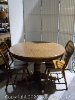 Round Oak Pedestal Table with 2 Chairs