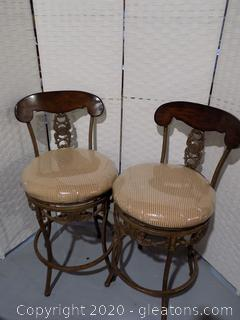 Pair Metal and Wood Bar Stools with Swivel Seats