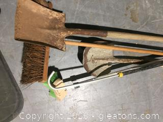 1 Push Broom –Wood Handle  2 Shovels –Wood Handle  1 Scrub Brush –Metal Handle
