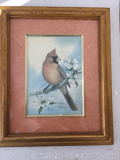 Jeanne Mack and Haynes Signed Cardinal Art 2 Pieces