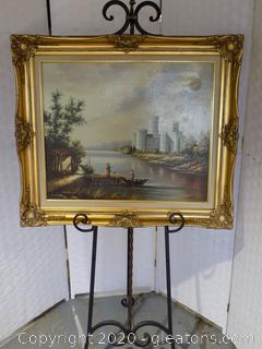 "Original Oil ""Turn of the Century"" by Perrine Signed CERTIFICATE OF AUTHENTICITY"