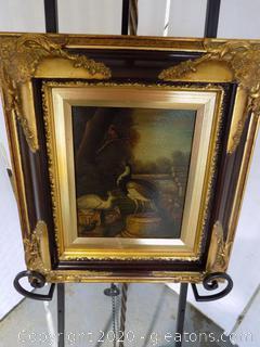 Antique Crackle Original Oil Painting of Peacocks