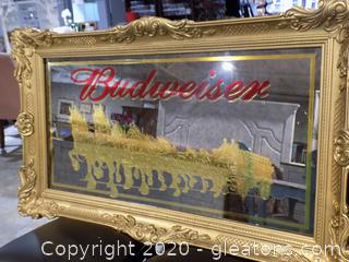 Large Mirrored Budweiser Sign Featuring Clydesdales in Ornate Gold Frame