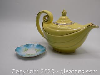 Hall Vintage Tea Pot and Decorative Saucer