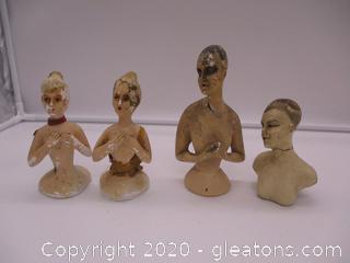 4 Vintage Plaster Busts