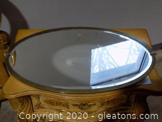 Vintage Oval Table Top or Dresser Mirror Metal Frame