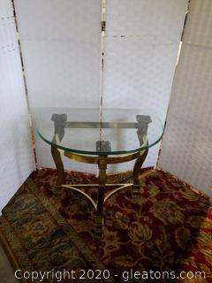 Brass Tone and Glass Side Table