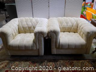 Chenille Cream Colored Chesterfield Chairs