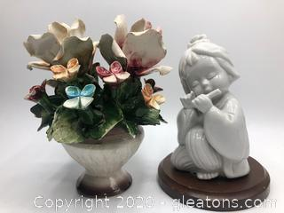 Porcelain Basket of Flowers and Enesco Asian Figurine