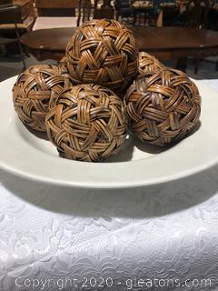 Decorative Rattan Balls with Bowl
