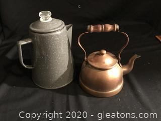 Enameled coffee pot & copper tea pot