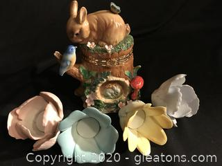 spring lot rabbit trinket box Porcelain flowers