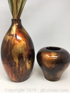 Gold & Brown Vase Lot