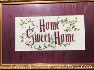 Home Sweet Home Framed Needle Point