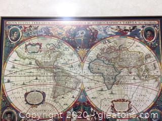 High End Old World Map Custom Framed