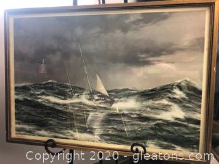Reprint of Montague Dawson Painting of Horn Abeam
