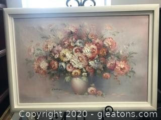 Painting by P Verling of Flowers in Urn