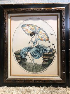 Reproduction of Renoir Jaubert Etching on Alabaster Glass