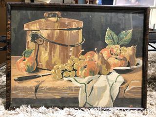 Antique Fruit & Pot Framed Painting