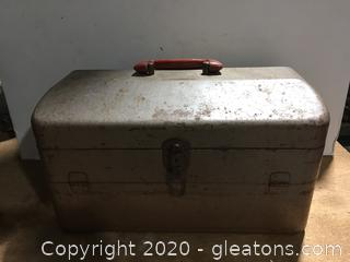 Vintage Tackle Box with Fishing Gear