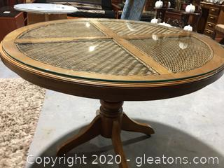 Wicker & Wood Round Breakfast/Dining Table