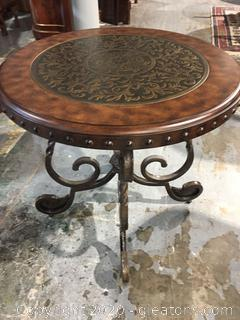 Rafferty Round Side Table with Bronze Inlay (a)