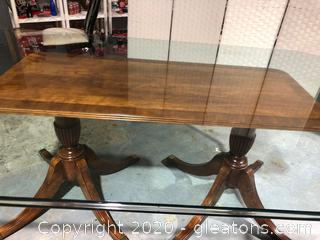 Double Pedestal Glass Top Dining Table