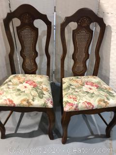 Cane Back Dining Chair Pair A