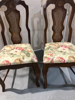 Cane Back Dining Chair Pair C