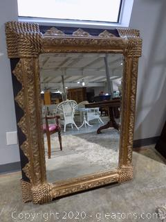 Black + Gold Hanging Mirror with Deep Frame