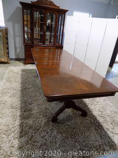 2 Pedestal Dining Room Table with Scroll Legs