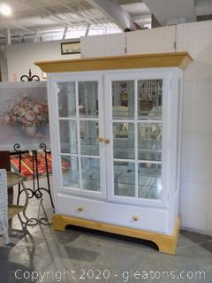 White Display/Curio Cabinet with Drawer