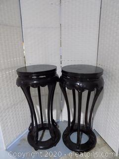 Pair of Asian Style Black Pedestal Tables