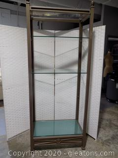 Champagne Finish Open Display with Glass Shelves A