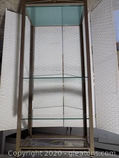 Champagne Finish Open Display with Glass Shelves B