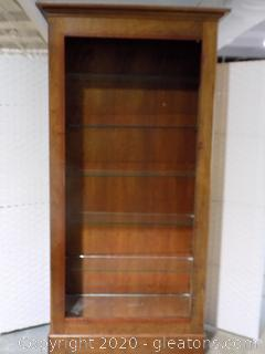 Wood Display Cabinet with Glass Shelves