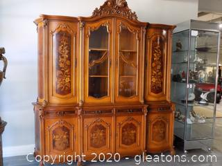 Large Hand Carved Inlaid Breakfront Cabinet by Biltmore Furniture WITH KEY
