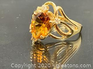 Genuine Yellow Citrine and Diamond Ring 14k