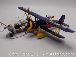 Coca-Cola Polar Air Plane & Polar Bear Cubs Figurines From Coke
