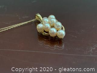 14k Pearl Cluster Pendant 14k Necklace