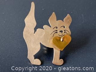 "Sterling Silver Handmade ""Cat with a Heart"" Pin - Signed"