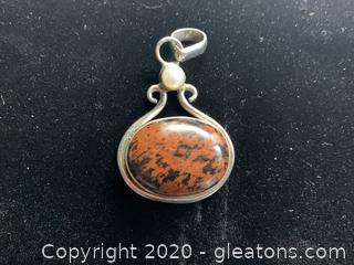 Sterling Silver Agate Stone and Pearl Pendant