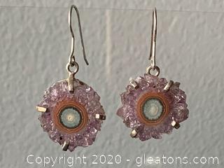Sterling Silver Purple Crystal Stalactite Earrings