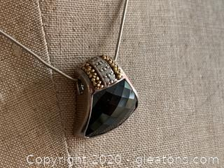 Sterling Silver Checkerboard Cut Genuine Onyx and Diamond 18k