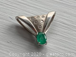 14k Slide Pendant Genuine Emerald and Diamonds