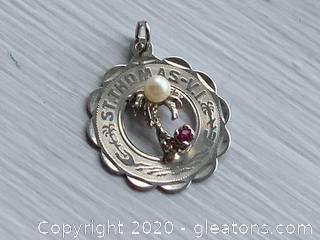 "Sterling Silver ""St.Thomas, Vl"" Charm with a Pearl and Pinkstone"
