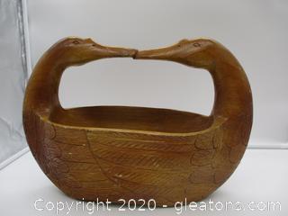 Veloso's Vintage Wooden Swan Basket