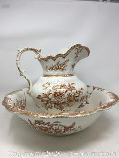 """ORIEL Wash Bowl and Pitcher Made by Staffordshire England Pottery """"Ye Olde Hall Potterie"""""""