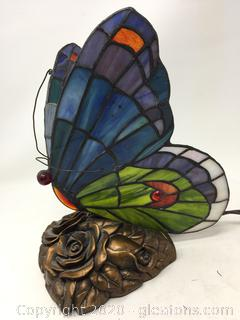 Butterfly Tiffany Style Glass Lamp